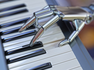 Robot Plays the Piano Artificial Intelligence Concept 3d Illustration