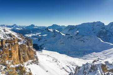 Sunny view of Dolomite Alps from viewpoint of Passo Pordoi near Canazei of Val di Fassa, Trentino-Alto-Adige region, Italy.