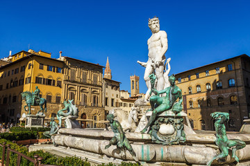 Fountain of Neptune in Florence, Italy.