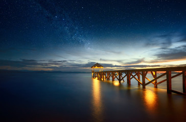 Printed kitchen splashbacks Night Beautiful night seascape with milky way in the sky and pier stretching into the ocean.