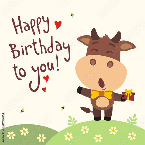Happy Birthday To You Funny Cow Sings Song With Gift In Hand Card Cartoon Style