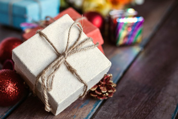 Gift on a wooden.