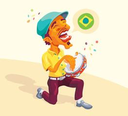 Brazilian Tambourine Player - Smart guy singing and playing samba