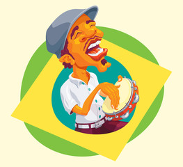 Tambourine player popping up of brazilian flag - Smart guy singing and playing samba