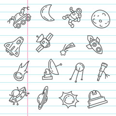 Cartoon doodles space elements drawings on notebook sheet . Hand drawn objects and symbols. Vector illustration for backgrounds, web design, design elements, textile prints, covers, greeting cards.