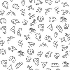 Cartoon funny seamless pattern travel . Hand drawn objects and symbols. Vector illustration for backgrounds, web design, design elements, textile prints, covers, greeting cards.