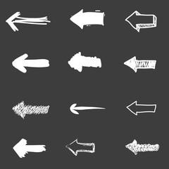 Set of cute hand drawn arrows. Doodle style sketching. Vector illustration.