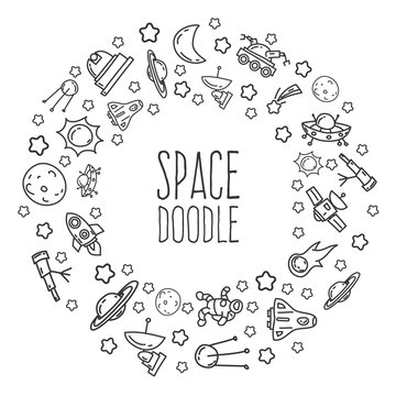Cartoon funny doodles space elements. Hand drawn objects and symbols. Vector illustration for backgrounds, web design, design elements, textile prints, covers, greeting cards.