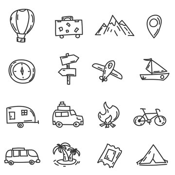 Cartoon funny travel doodles. Hand drawn objects and symbols. Vector illustration for backgrounds, web design, design elements, textile prints, covers, greeting cards.