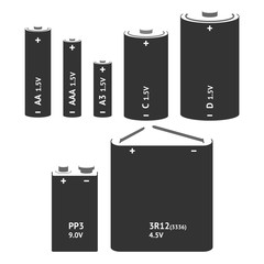 Set with different types of batteries. Vector