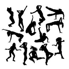 Hip Hop Dancer Set Silhouette, art vector design