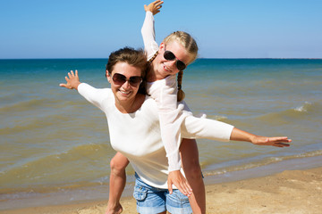 Parent and child happily spend time together.