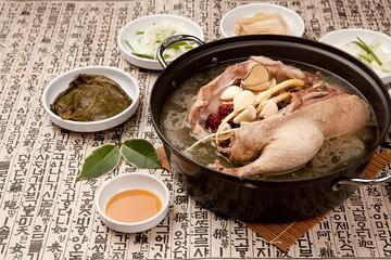 hanbang ori baeksuk. Boiled Duck with Rice and Medicinal Herbs