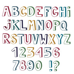 Set of cute colored letters and numbers with 3d effect isolated on white background.