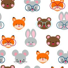 Cute seamless pattern with animal head. Teddy bear, rabbit, fox and mouse. Cute Japanese anime style.