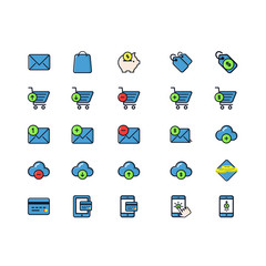 Set of Business Related Vector Colored Icons. Contains such Icons as Shopping Basket, Money, Money Case, Wallet, Price Tag, Shopping Cart, Credit Card and more. Fully Editable. Neatly Done.