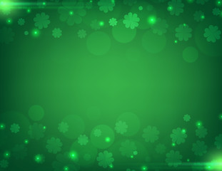 Vector Illustration of a St. Patrick's Day green  clover leaves background