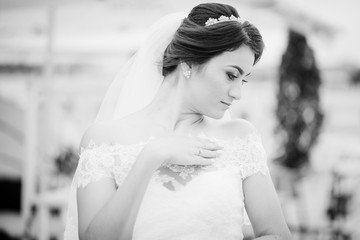 Brunette bride stay on the pier berth at cloudy day.Close up portrait, black and white.