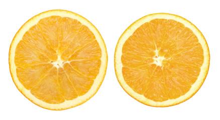 Two orange slice isolated on white