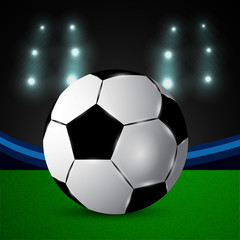 Illustration of soccer ball on stadium