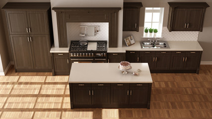Classic kitchen, elegant interior design with wooden details, top view