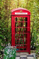 Red Phone Booth in the garden