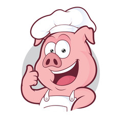 Pig chef giving thumbs up in round frame