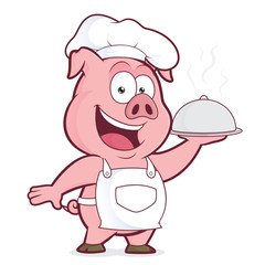 Pig chef holding silver cloche