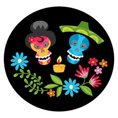 Poster with colorful skulls with  candle and flower wreath for d