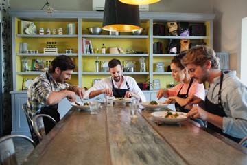 Chefs having lunch.