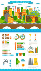 Fototapeta Environment, ecology infographic elements, ecosystem. Can be used for background, layout, banner, diagram, web design, brochure template. Vector illustration