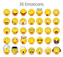 Emoticons set isoled on white background