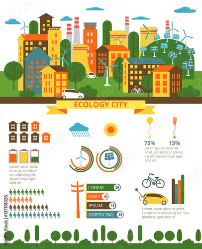 ecology infographic elements green city can be used for workflow layout banner