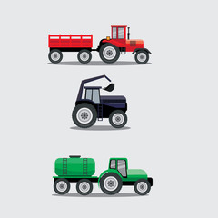 Heavy industrial vehicles image design set