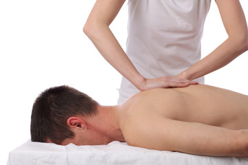 Chiropractic, osteopathy, dorsal manipulation, massage. Therapist doing healing treatment on man's back . Alternative medicine, pain relief concept isolated on white.