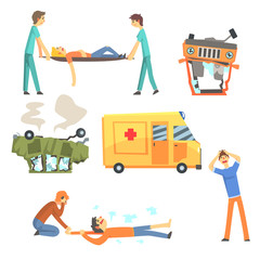 Car Road Accident Resulting In People Health Damage And Ambulance Helping The Victims Set Of Stylized Cartoon Illustrations