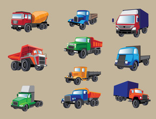 Heavy industrial vehicles image design set