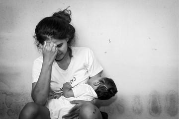 Teenage problem concept,Social problem,Teen women stress ,Teen have baby