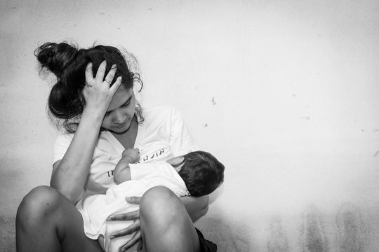 Teenage problem concept,Social problem,Teen women stress ,Teen have baby ,black and white tone