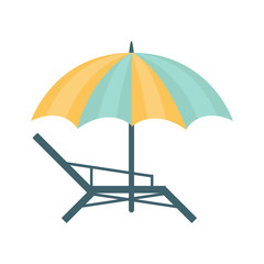 Metal Sunbed And Umbrella Of Blue And Yellow Colors, Part Of Summer Beach Vacation Series Of Illustrations