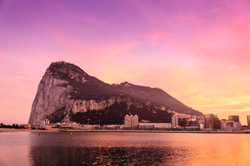 Sunset over the Rock of Gibraltar