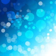 abstract blue Bokeh circles on background