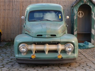 Old vintage green pickup truck