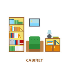 Lovely and colorful vector interior design cabinet room in trendy flat style. Modern home decoration. Minimalistic background. Geometric house elements.