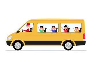 Vector cartoon minivan driver children passengers