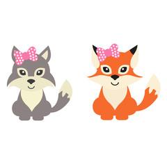 cartoon wolf and fox wih bow vector set