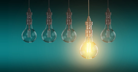 Light bulb lamps. 3D rendering