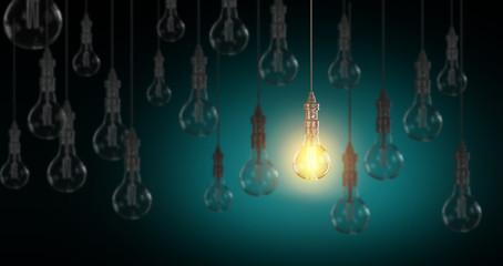 Light bulb lamps. 3D rendering