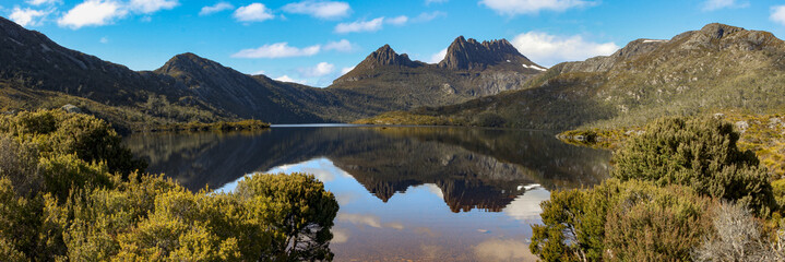 Beautiful mountain scenery, Dove Lake with boat shed, Cradle Mountain NP, Tasmania