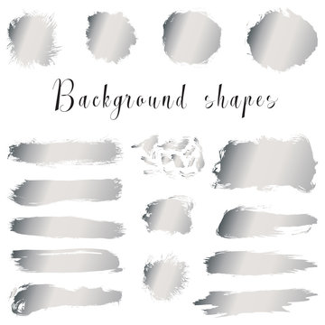 Silver ink borders, brush strokes, stains, banners, blots, splatters. Vector set of hand drawn grunge elements isolated on white background.